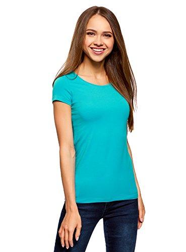 oodji Ultra Damen Tagless Tailliertes T-Shirt Basic (2er-Pack), Türkis, DE 42/EU 44/XL (Shirt Training Jersey Sportliche)