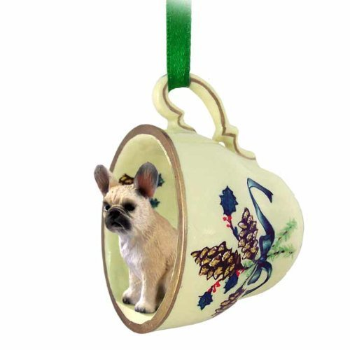 French Bulldog Fawn Tea Cup Green Holiday Ornament by Conversation Concepts -