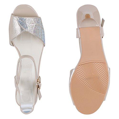 Party Damen Sandaletten | Glitzer High Heels | Plateau Sandaletten Strass Nieten | Damenschuhe Snake Lack | Stilettos Schnallen Schuhe Creme Silber