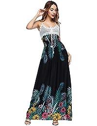 8ed8a18a4021 Vestito Bretelle Donna Boho Hippie Chic Abito Impero Lungo Cerimonia  Vestito Fantasia Floreale Vintage Swing Abiti