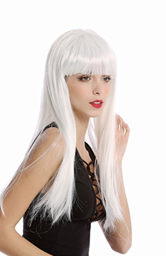 WIG ME UP - 91128-ZA80 Perücke Damen Halloween Karneval glatt lang breiter Pony weiß Science Fiction Android Disco