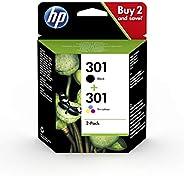 HP 301 N9J72AE , Pack de 2, Cartuchos de Tinta Originales Negro y Tricolor, compatible con impresoras de inyec