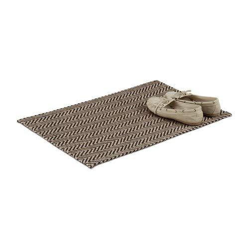 Relaxdays Fußmatte mit Zickzack-Muster, Türmatte aus Jute, handgefertigter Fußabtreter außen, 40x60 cm, natur/schwarz Muster