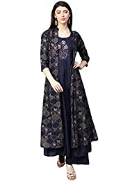 12d79a089 Ishin Women s Rayon Navy Blue Embroidered Anarkali Kurta Palazzo Set With  Jacket