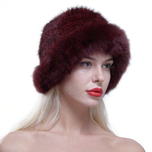 URSFUR Chapeau Cloche Fourrure Femme Bonnet Fourrure De Renard Tricot Hiver Bordeaux
