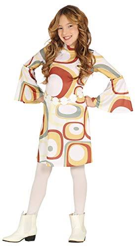 Fancy Me Mädchen-Kostüm mit Siebziger-Wirbeln, 70er-Jahre-Dekade, Hippie-Kostüm, 5-12 Jahre (Siebziger Jahre Kostüme Für Kinder)