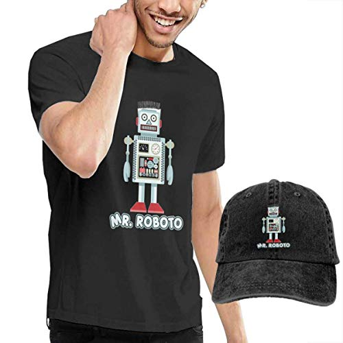 Baostic Herren Kurzarmshirt Mens Mr Roboto Low Profile Short Sleeve Shirts&Washed Cotton Baseball Cap Dad Hat -
