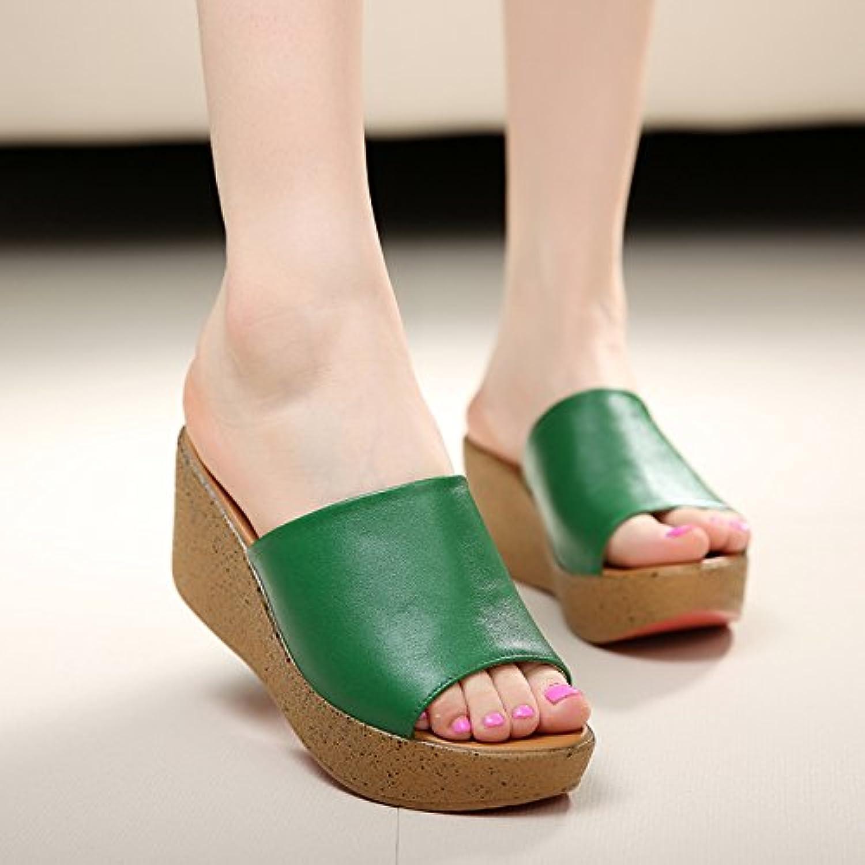 SCLOTHS Tongs Femme Chaussures Pente Pente Pente d'été bas occasionnels épais fond mou similicuir non glissante talons moyens - B07CWS9R6Y - ad094b