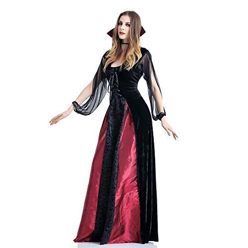 GIFT ZHIZHUXIA Frauen Mädchen Klassische Vampiress Kostümfest Kostüm Damen Horror Queen Erwachsene Weihnachtsfeier Kleid Requisiten (Farbe : Photo Color, größe : ()