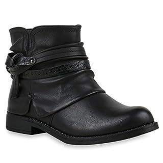 Damen Stiefeletten Biker Boots Schnallen Nieten Knöchelhohe Stiefel Leder-Optik Schuhe 121944 Schwarz Knoten 37 | Flandell
