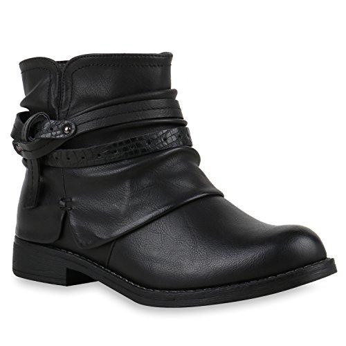 Damen Stiefeletten Biker Boots Schnallen Nieten Knöchelhohe Stiefel Leder-Optik Schuhe 121944 Schwarz Knoten 37 Flandell