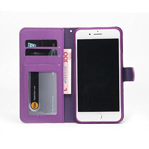 Solid Color Cross Lines Muster 2 in 1 Style PU Ledertasche Geldbörse Tasche Tasche mit Kickstand & Lanyard für iPhone 7 Plus ( Color : Rose ) Purple