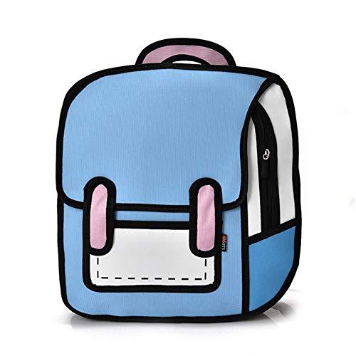 ump Stil 2D Zeichnung Cartoon Zurück Tasche Comic Messenger Tote Fashion Cute Studenten Taschen Unisex Knapsack A 37 * 39 * 10CM ()