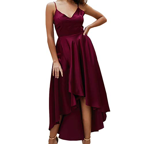 Amuse-MIUMIU Women solid midi Dress,Women V-Neck Camiso High Low Assymetrical Dress Solid Skater Shift A-Line Western Party Maxi Dress Lrregularity Fancy Dress for Women/Girl/Lady Rayon Womens Party-kleid