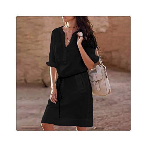 Women Long Sleeve Shirt Dress 2019 Summer Cotton Boho Beach Dresses Loose Women Casual solid A-line Party Evening Vestidos Dress Black S -