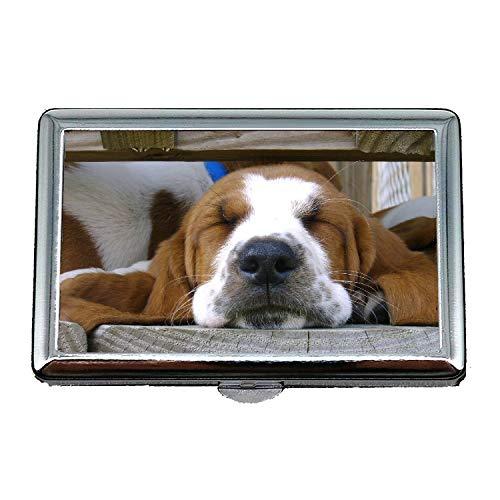 Zigarettenetui, französische Bulldogge Puppy Dog Cute Haustier Basset Hound, Business Name Kartenhalter -