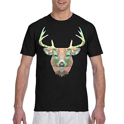 T-Shirt Men's Casual Short Sleeve Polygon Printed Shirts Tee Medium -