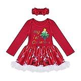 CHICTRY 2tlg Baby Mädchen Weihnachten Kleidung Set Langarm Strampler Tutu Body + Stirnband Kostüm Outfits 0-12 Monate Rot Weihnachtsbaum 74-80/9-12 Monate
