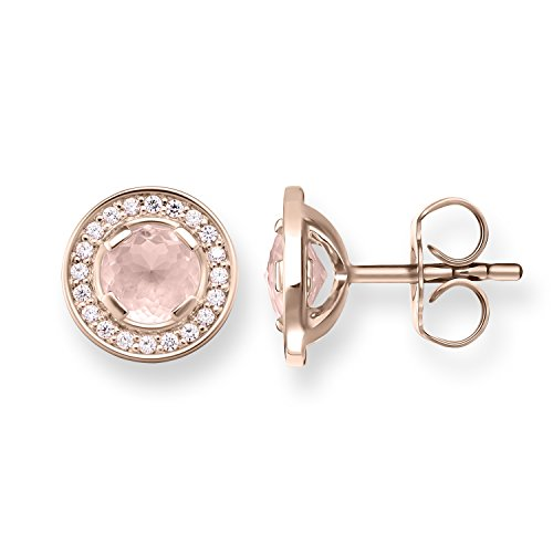 Thomas Sabo Damen-Ohrringe Ohrstecker Glam & Soul Luna 925 Sterling Silber 750 rosegold vergoldet Zirkonia weiß Rosenquarz pink H1858-417-9