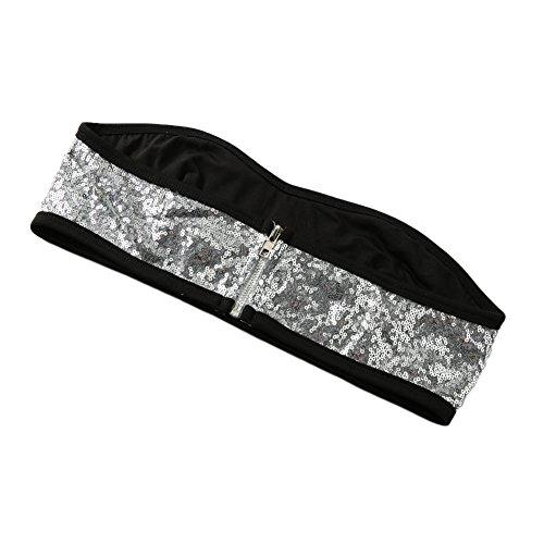 Romacci Sequin Jeweled Dessous Set Mini Bikini Drei Stück Set Silber/Lila Silber