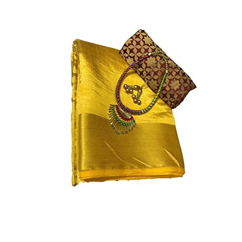 Clickedia Women's Silk Saree With Blouse Piece_Yellow_Free Size