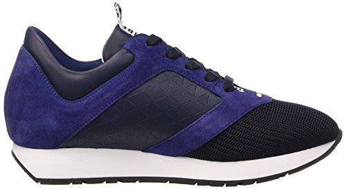 Bikkembergs Runn-Er 656 L.Shoe M Fabric/Leather, Pompes à Plateforme Plate Homme Bleu (Black/Origami)