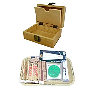 SHINE GRASSLEAF Wooden Rolling Box with RAW Tray Gift Set- Includes Papers/Tips/Grinder/Rolling Machine/MAT (Small Box/Medium Tray)