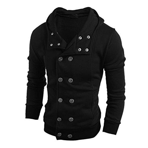 Herren Hoodie Xinan Winter mit Kapuze Pullover Top Bluse (XL, Schwarz)