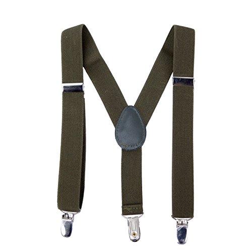 AWAYTR Kind Einfarbig Hosenträger Breit Elastisch Stark Schwerlast Doppelte Y-Form Mit Elastizität (Armeegrün)