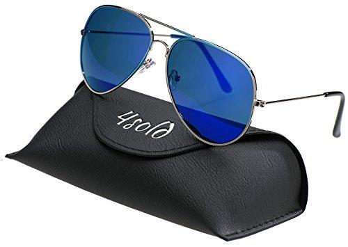 4sold Herren Damen Kinder Sonnenbrille Polarisierte UV 400 Schutz Metall Box (Kinder, Blau)