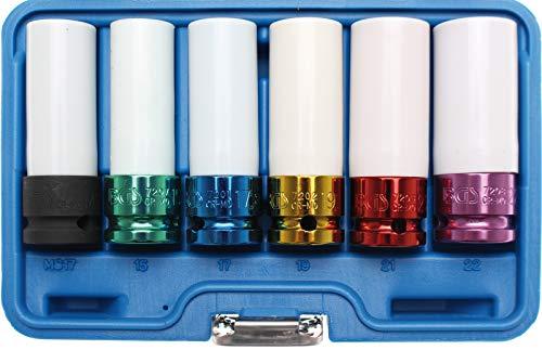 BGS Kraft-Schoneinsatz Set (6-teilig, Antrieb Innenvierkant, SW 15/17/19/21/22 mm, mit Kunststoffmantel) 7307