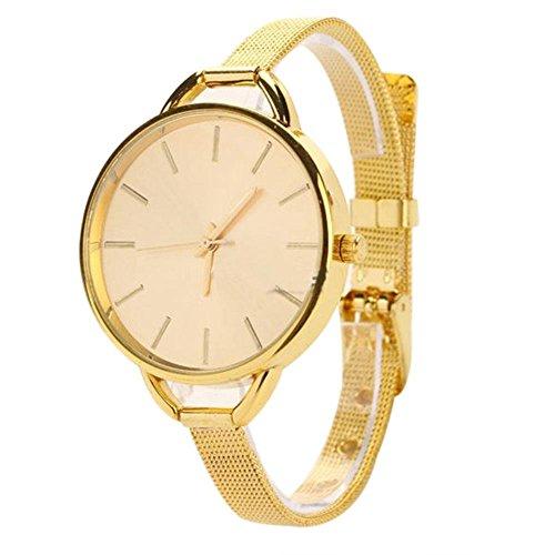 Uhr-Splitter-Vintage-Frauen-Analog-Edelstahl-Quarz-Armbanduhr-Geschenk-Hochzeit-Weihnachten-fr-Damen-Schmaler-armband-Ultradnn-Gold