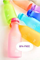 3PC BPA-Free Candy Color Water Bottle with Hand Strap Lanyard for Sports Sporting with Cap Small Perfect for Adult and Kids Children School 18.5-ounce/550ML(Random Color)