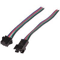 Vvciic 1 par de sexo femenino y masculino 4-pin RGB Conectado conector del cable de alambre