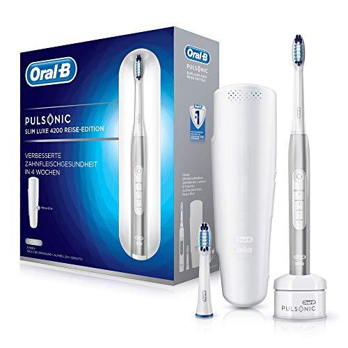 Oral-B Pulsonic Slim Luxe 4200 Elektrische Schallzahnbürste für gesünderes Zahnfleisch in 4 Wochen, mit Timer, 2 Aufsteckbürsten und Reise-Etui, Platin