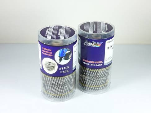 NailPro 1-1/2-Inch by 0.093 - Ring Shank Siding Nail - 15 Degree Wire Coil - Stainless Steel - 1500 pc. Stack Pack by Nail Pro
