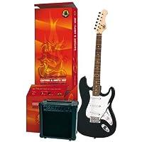 Legend PACS100BK Pack de Guitare électrique Type Strato Noir