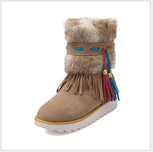 QPYC Scarpe da donna scarpe Stivali in peluche in peluche Stivali in pelle di sabbia rotonda Testa con cappuccio impermeabile Piattaforma di neve spessa sottile Big Code beige