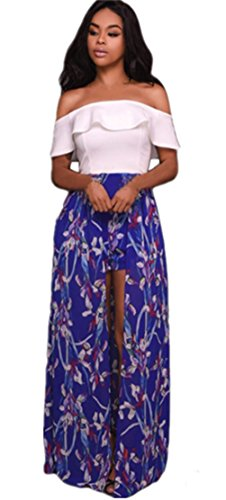 Blansdi Damen Sommer Elegant Schuterfrei High Waist Partykleid Chiffon Floral Blumen Boho Strandkleid Festliches Langes Ballkleid Hochzeit Cocktailkleid Blau