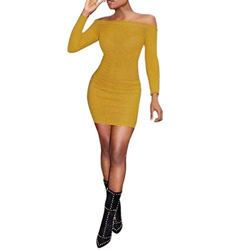 FORH Mode Damen Off Schulter Langarm Pullover Kleid Reizvolle Schulterfrei Bodycon Elegant Stretch Kleid Casual Strickpullover Party Abendkleid Bleistift Kleid (Gelb, XL) (Empire Kleid Babydoll)