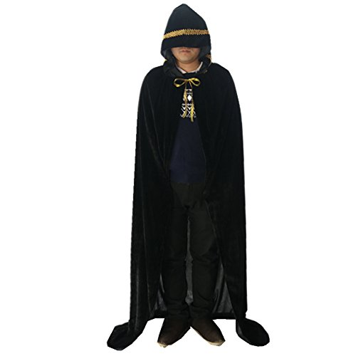 Labellevie Lange Umhang mit Kapuze Samt Mit Spitzengold Cape Vampir Kostüm Halloween Erwachsener Unisex Schwarz 150cm (Mit Samt-cape Kapuze)