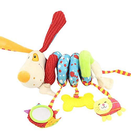 Puppy Plüschtier Babyplüschspielzeug Kinderwagenkette Weiche Autositz Aktivität Spielzeug mit Rassel Beißring Spiegel mit niedlichen Figuren zum Aufhängen an Kinderwagen, Babyschale oder Kinderbett