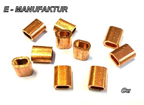 Set - 2 Stück Presshülsen, Pressklemmen aus Kupfer (2 mm)