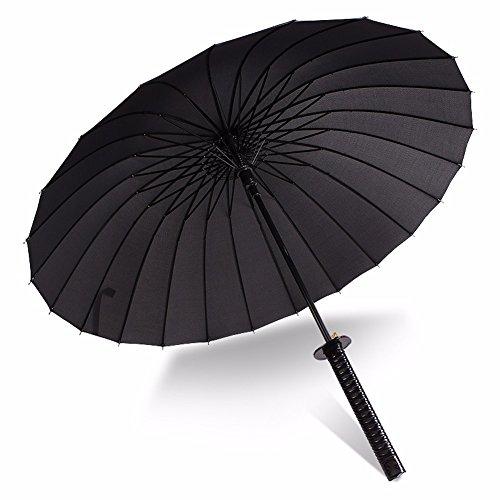 KHSKX Uomini ombrelloni lungo ombrello Ombrello creative Super Broadsword ombrello Ombrello spada Sun Giappone Samurai ombrello,24 coltello ossea