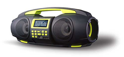 SDigital GB-3601 Fatboy Bluetooth Boombox (UKW Radio, MP3, USB, SD, Powerbank, AUX-In) matt grau/lime grün