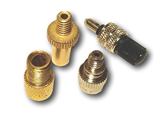 4er Set Ventiladapter Luftpumpen Kompressor Adapter Fahrrad Ventil Adapter DV SV AV + Blitzventil mit Mutter und Kappe
