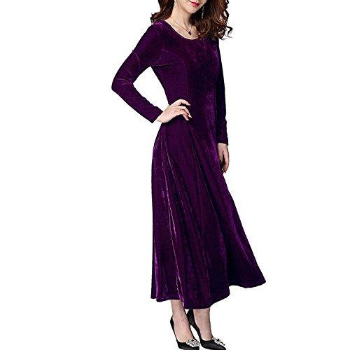Donna Vestiti di Velluto Elegante Abito da Sera Manica Partito Lungo Slim Abiti Maxi Lunga Manica Vestito Velluto Cocktail Abito 2