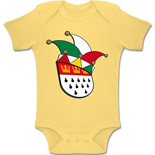 Städte & Länder Baby - Köln Wappen Narrenkappe - 3-6 Monate - Hellgelb - BZ10 - Baby Body Kurzarm Jungen Mädchen