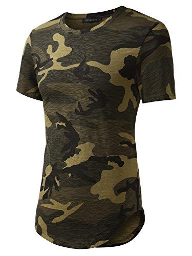 HEMOON-Camiseta Top para Hombre Cuello Redondo Mangas Cortas Verde-Camuflaje Large