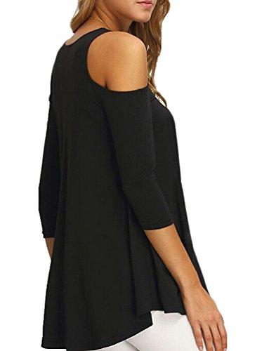 Donna T Shirt Vintage Manica Lunga Spalla Scoperta Eleganti Basic Larghe Swing Particolari Primavera Lunga Maglietta Top Blusa Camicia Nero